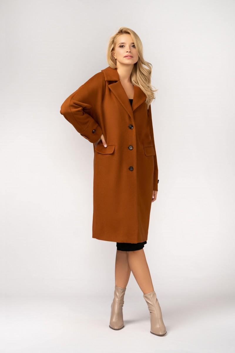 Oversizeowy płaszcz typu kimono z wełnianej tkaniny m529