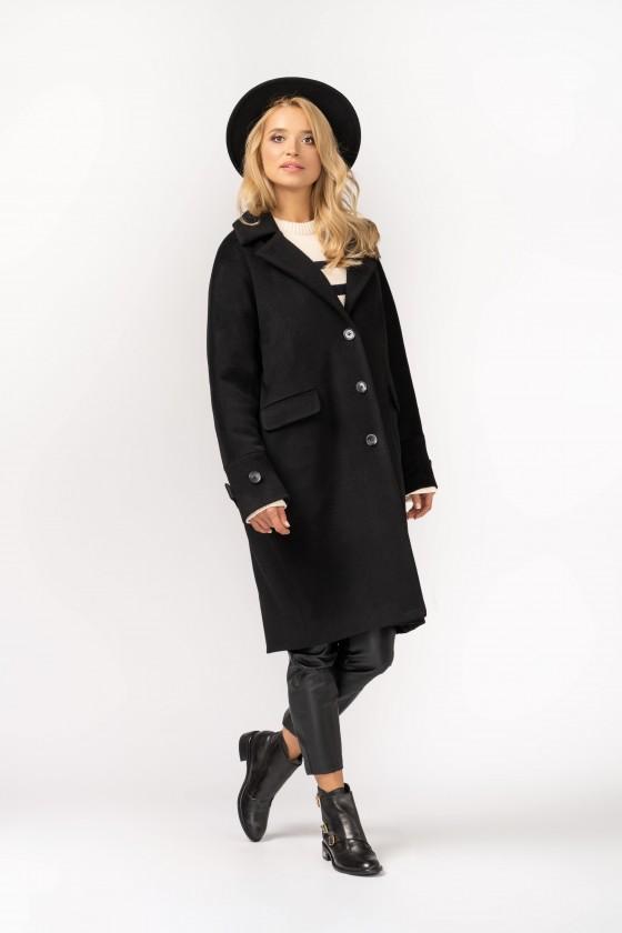 Oversizeowy płaszcz typu kimono z wełnianej tkaniny m529 czarny