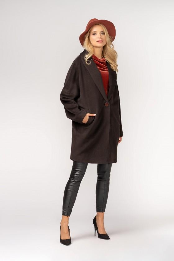 Oversizeowy płaszcz z wełnianej tkaniny m387, brązowy