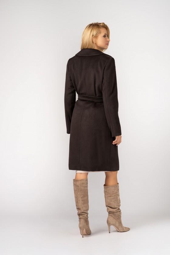 Płaszcz z paskiem m396 brązowy