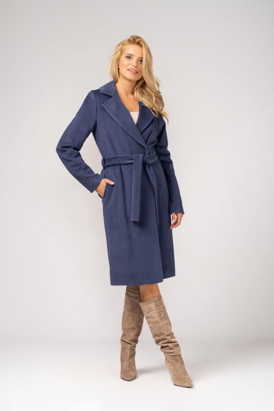 Elegancki, wełniany płaszcz z paskiem do kolan w kolorze dżinsowym