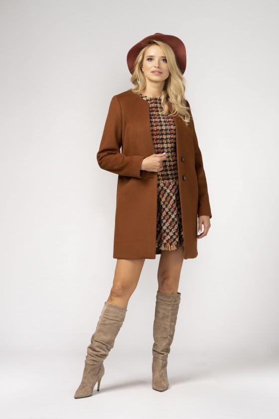 Minimalistyczny, brązowy, nieocieplany płaszcz z patką m527