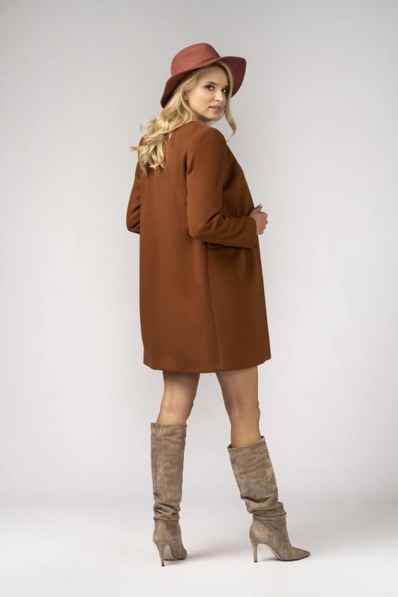 Minimalistyczny płaszcz m527 koniakowy
