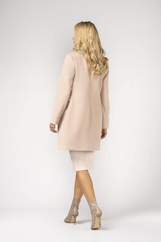 Minimalistyczny płaszcz m527 beżowo-różowy