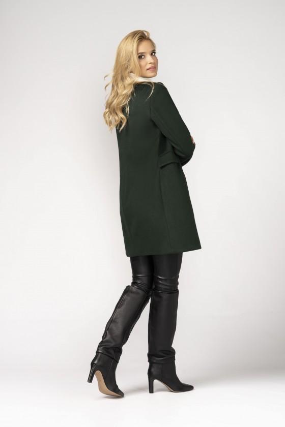 Minimalistyczny płaszcz m527 butelkowa zieleń