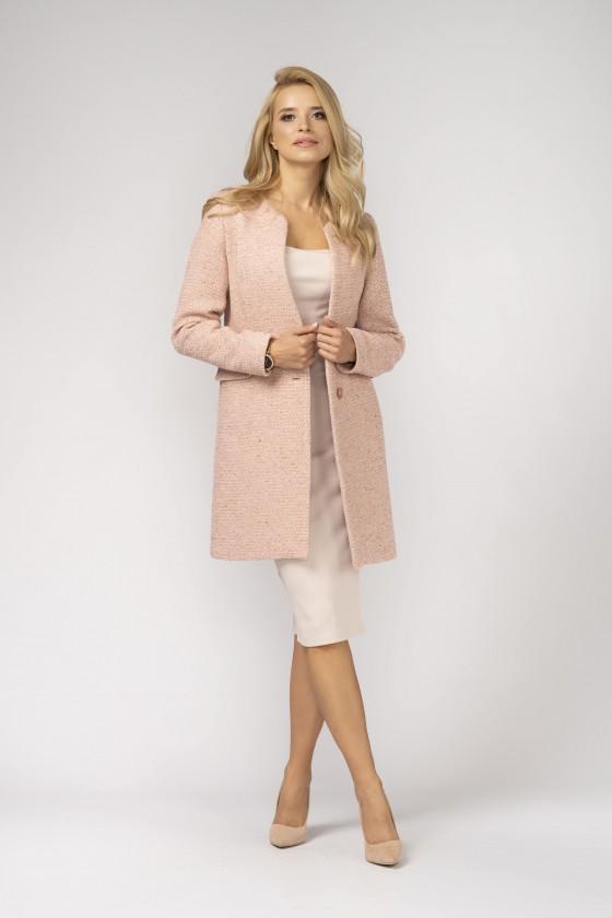 Minimalistyczny, różowy, nieocieplany płaszcz z patką m527