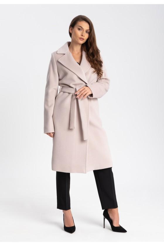Płaszcz m433 beżowo różowy