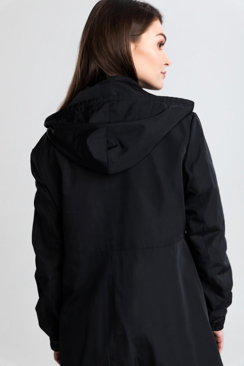 Szulist płaszcz czarny typu parka na suwak z kapturem