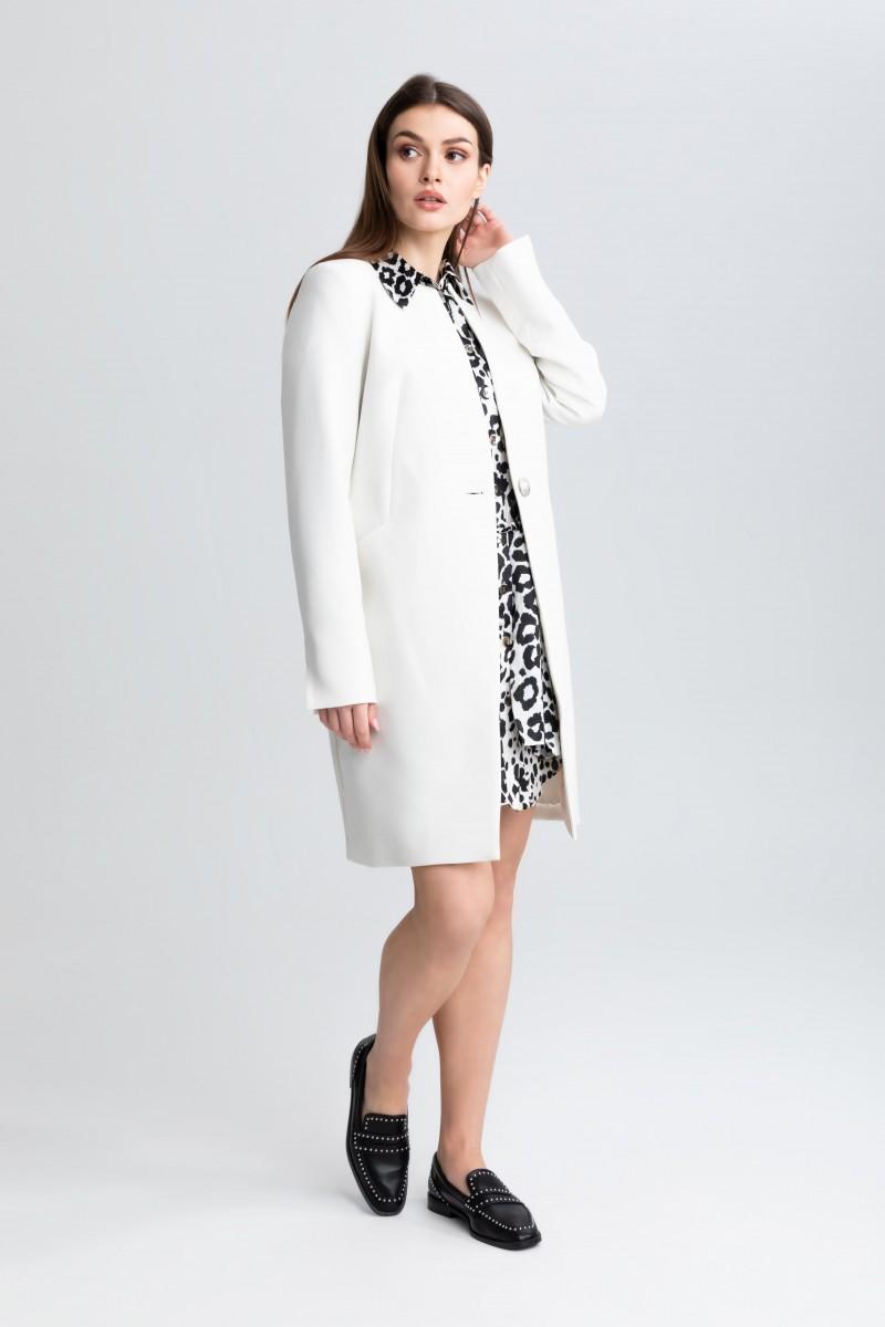 Elegancki płaszcz na 1 guzik m508 ecru Szulist