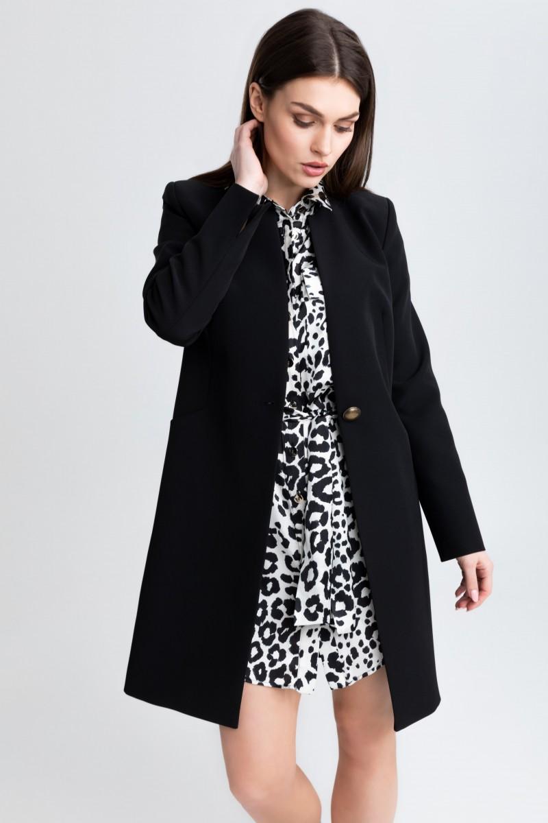 Elegancki płaszcz na 1 guzik m508 czarny Szulist