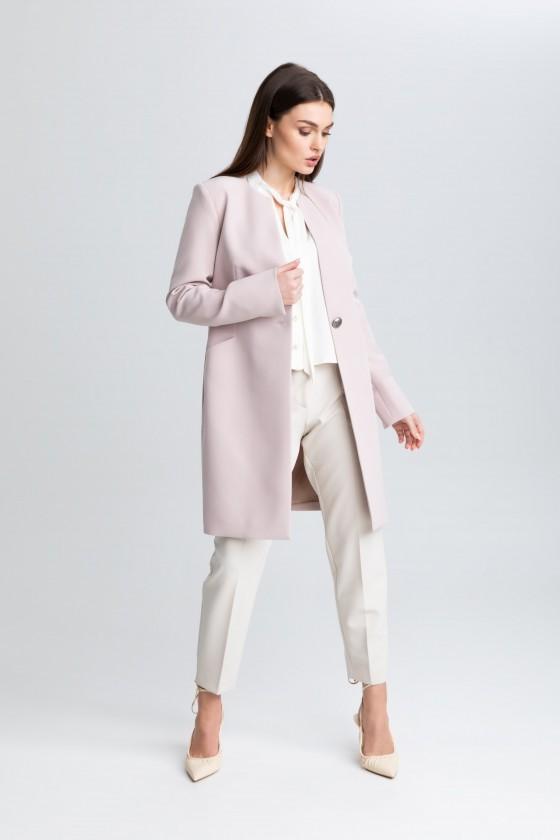 Elegancki płaszcz na 1 guzik m508 pudrowo-różowy Szulist
