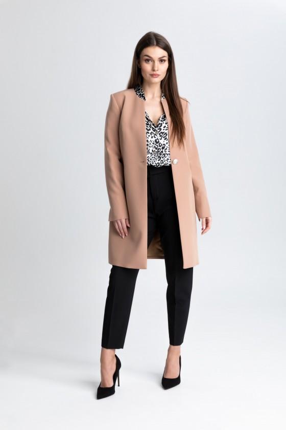Elegancki płaszcz na 1 guzik m508 camelowy Szulist