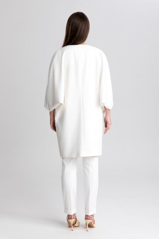 Elegancki płaszcz typu oversize m517 ecru