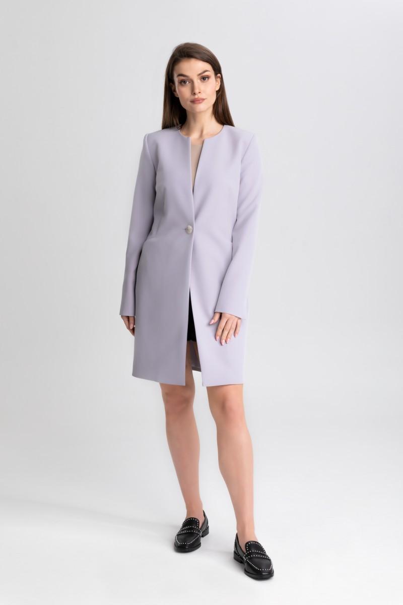 Elegancki płaszcz na 1 guzik m508 szary Szulist