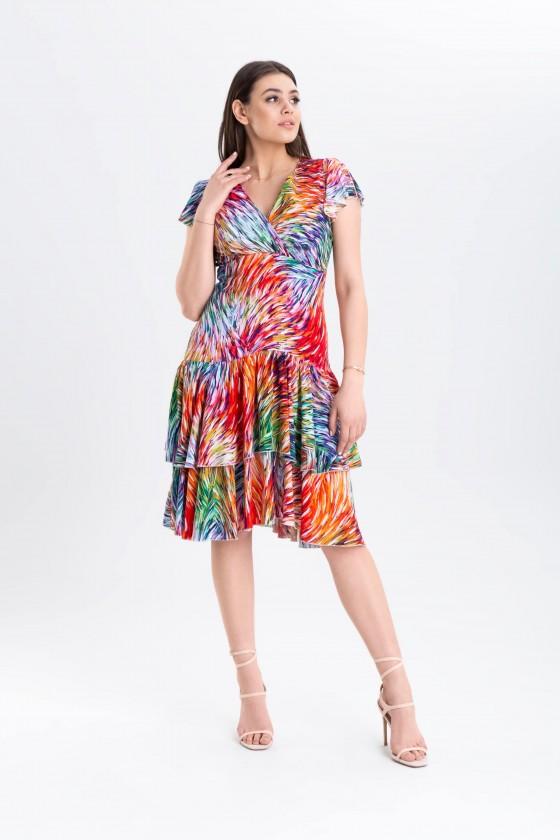 Sukienka z falbaną m 970 kolorowa