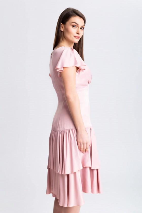 Sukienka z falbaną m 970 różowa